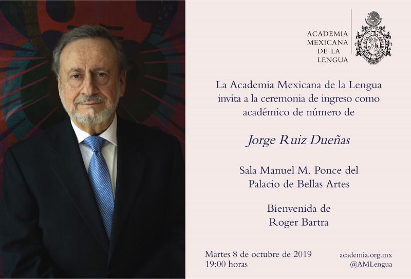 Ingreso del poeta Jorge Ruiz Dueñas a la AML