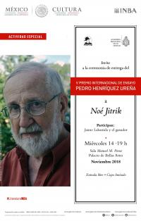 Este miércoles 14 a las 19 horas en Bellas Artes se entregará el V Premio Pedro Henríquez Ureña a Noé Jitrik